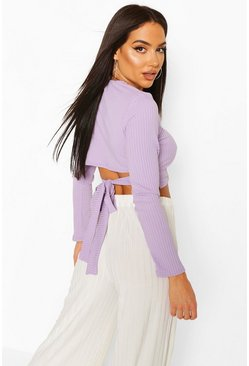 Lilac purple Jumbo Rib Tie Back Long Sleeve Top