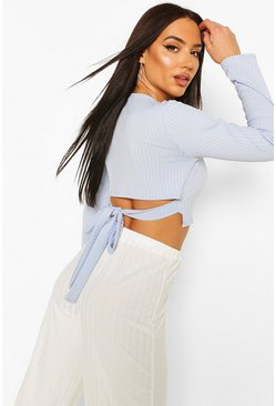 Sky blue Jumbo Rib Tie Back Long Sleeve Top
