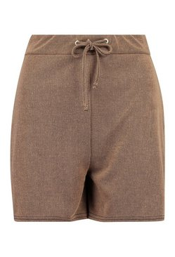 Tan Washed Rib Drawcord Short