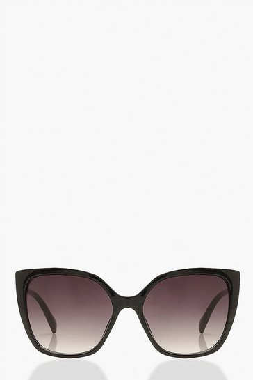 Black Oversized Cat Eye Sunglasses Gradiant Lense