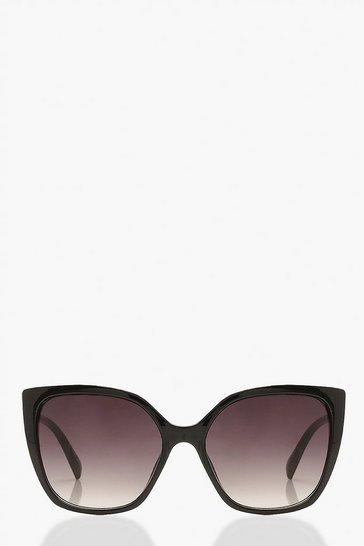 Black Oversized Cat Eye Sunglasses Gradient Lens