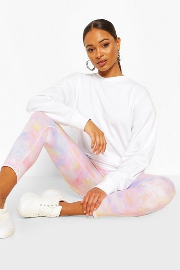 Peach orange Pastel Tie Dye Leggings