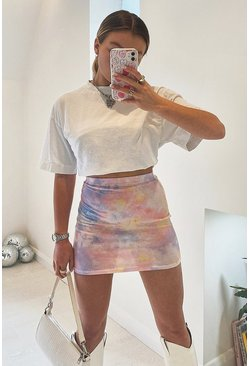 Pink Pastel Tie Dye Mini Skirt