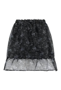 Black Floral Organza Mini Skirt