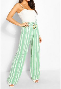 Sage green Stripe Paperbag Wide Leg Trousers