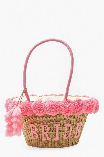 Pink Bride Straw & Pom Pom Large Beach Bag