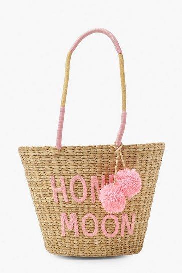 White Honey Moon Pom Pom Large Straw Beach Bag