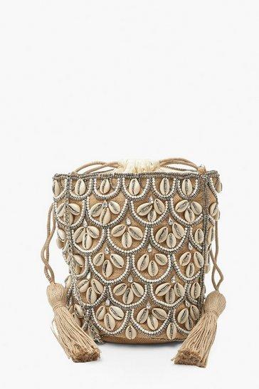 Natural beige Premium Shell & Bead Bucket Cross Body Bag