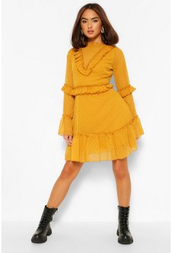 Mustard yellow Dobby Mesh Frill Neck Detail Skater Dress
