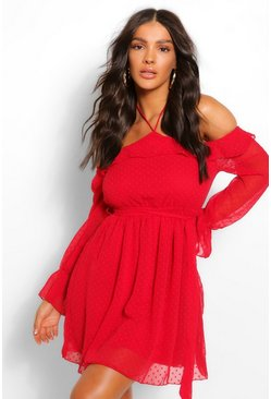 Red Dobby Mesh Tie Neck Frill Detail Skater Dress