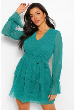 Teal green Dobby Mesh V Neck Tiered Skater Dress