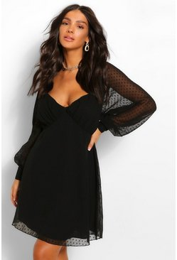 Black Dobby Mesh Rouched Bust Babydoll Smock Dress