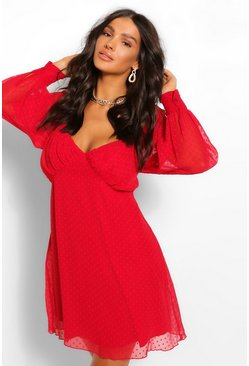 Red Dobby Mesh Rouched Bust Babydoll Smock Dress