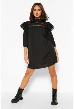 Black Lace Trim Layered Sleeve Smock Dress