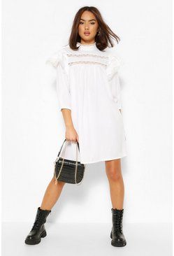 White Lace Trim Layered Sleeve Smock Dress