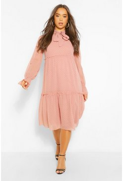 Soft pink pink Dobby Mesh Pussy Bow Tiered Smock Midi Dress