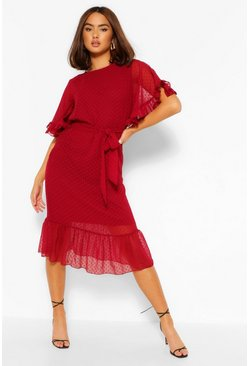 Berry red Dobby Mesh Tie Belt Full Sleeve Midi Dress