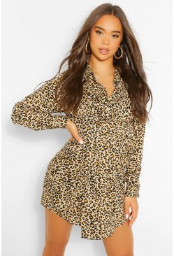 Natural Leopard Knot Front Shirt Dress