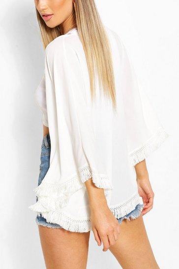 Ivory white Tassel Trim Kimono