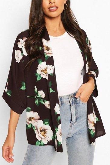 Black Floral Print Kimono