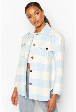 Blauw blue Oversized geruite shacket