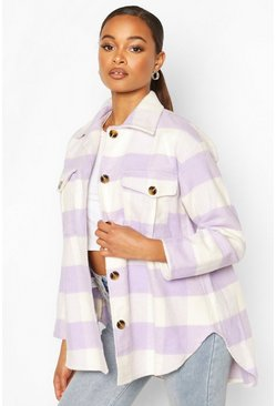 Lilac purple Check Oversized Shacket