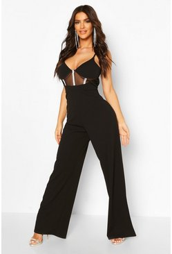 Black Diamante Trim Mesh Detail Wide Leg Jumpsuit