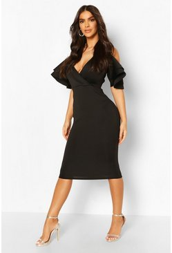 Black Wrap Front Cold Shoulder Midi Dress