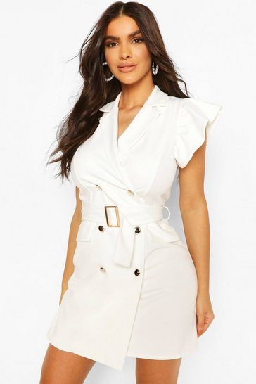 White Frill Sleeve Belted Blazer Dress