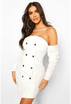 White Draped Sleeve Off The Shoulder Blazer Dress