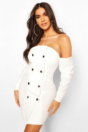 White Draped Sleeve Bardot Blazer Dress