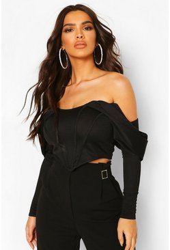 Black Draped Sleeve Boned Corset Top
