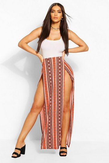 Red Bohemian Stripe Front Maxi Skirt