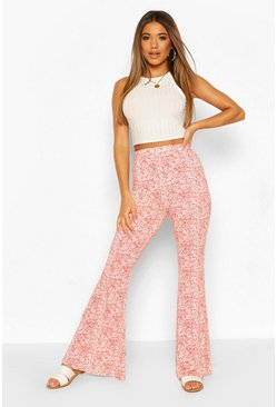 Red Paisley Print Jersey Flares