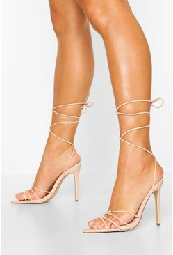 Nude Pointed Toe Wrap Strap Heels