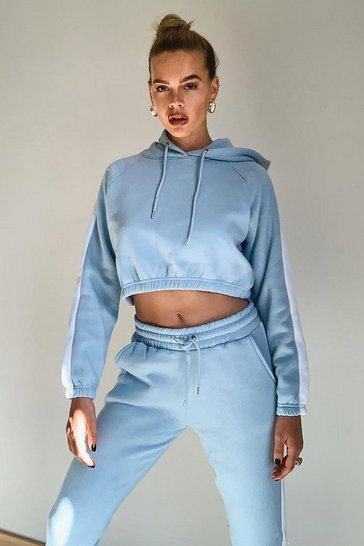 Pale blue blue Contrast Panelled Crop Hooded Tracksuit