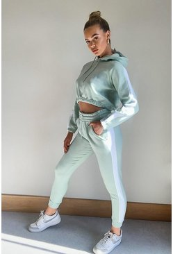 Sage green Contrast Panelled Crop Hooded Tracksuit