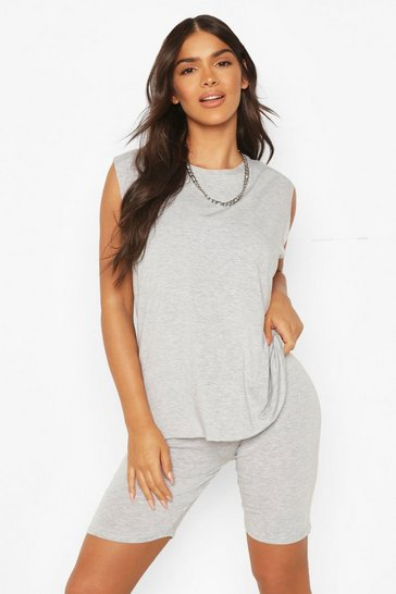 Grey marl grey Oversized Vest And Cycling Short Set