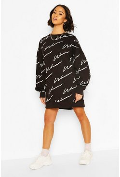 Black Woman All Over Print Oversized Sweat Dress