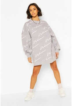 Grey marl grey Woman All Over Print Oversized Sweat Dress