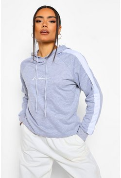 Grey marl grey Woman Print Oversized Hoody