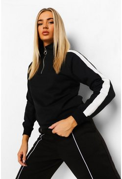 Black Side Stripe Half Zip Sweat