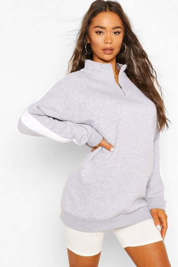 Grey Side Stripe Half Zip Sweat