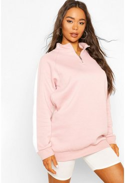 Pink Side Stripe Half Zip Sweater