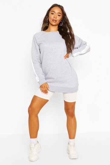 Grey marl Side Stripe Oversize Sweat