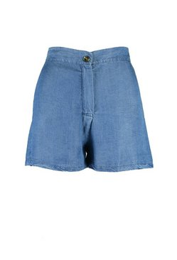 Mid blue Chambray Mock Horn Button Short