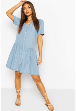 Light blue blue Chambray Mock Horn Button Smock Dress