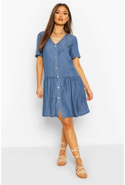 Light blue Chambray Mock Horn Button Smock Dress