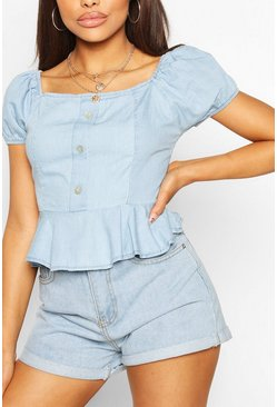 Light blue blue Chambray Button Front Frill Top