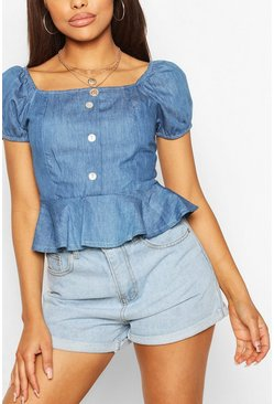 Mid blue blue Chambray Button Front Frill Top